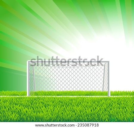 Soccer goal and field. - stock vector