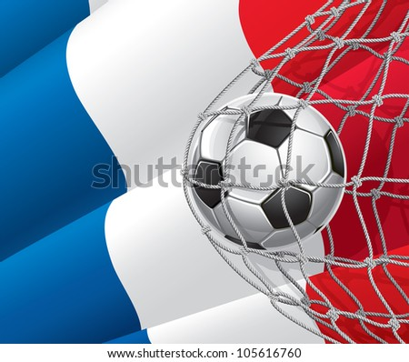 Soccer Goal. French flag with a soccer ball in a net. Vector illustration - stock vector