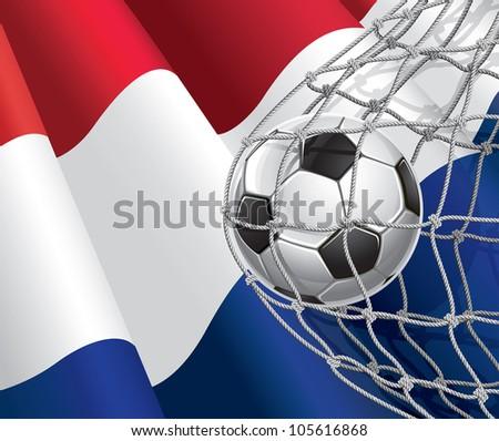Soccer Goal. Netherlandish flag with a soccer ball in a net. Vector illustration - stock vector