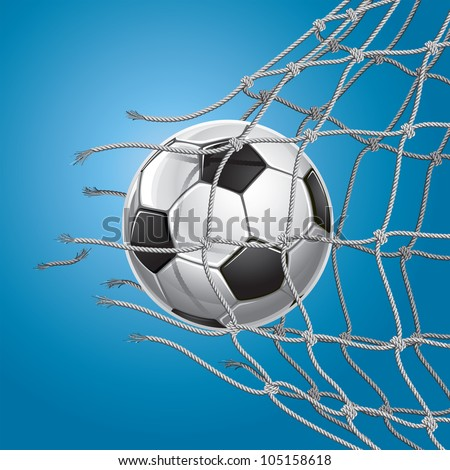 Soccer Goal. Soccer ball or football breaking through the net of the goal. Vector illustration - stock vector