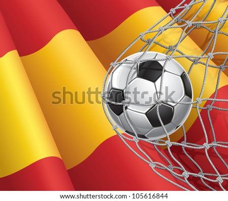 Soccer Goal. Spanish flag with a soccer ball in a net. Vector illustration - stock vector