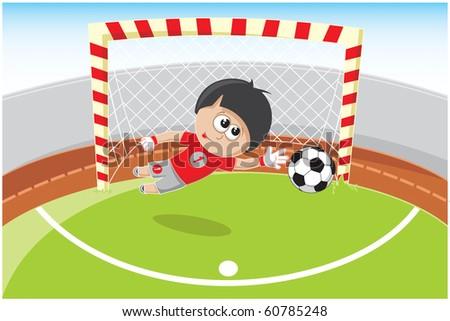 soccer goalie beats the ball in the fall - stock vector