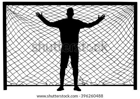 Soccer goalkeeper silhouette vector. Goalkeeper silhouette black. Goalkeeper icon and net isolated on white background. - stock vector
