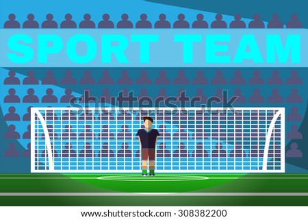 Soccer Goalkeeper Standing in a Football Goal. Sportswear flat design. Soccer player wearing blue boots with green socks, brown shorts and black t-shirt. Digital background vector illustration. - stock vector