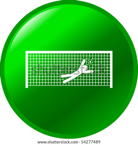 soccer goalkeeper trying to stop a goal button - stock vector