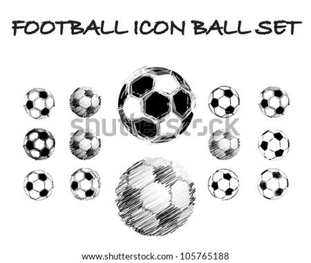 Soccer grunge ball set - stock vector