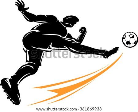 Soccer High Power Kick - stock vector