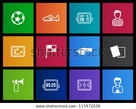 Soccer icon series in  metro styles - stock vector