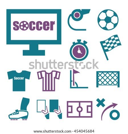 soccer icon set - stock vector