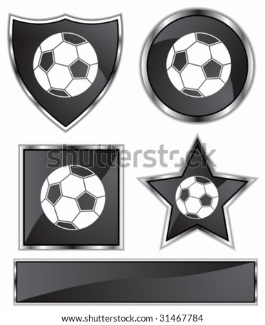 Soccer Icon Set : Black satin and chrome buttons in star, shield, circle and square shapes.