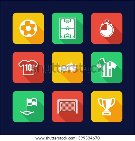 Soccer Icons Flat Design
