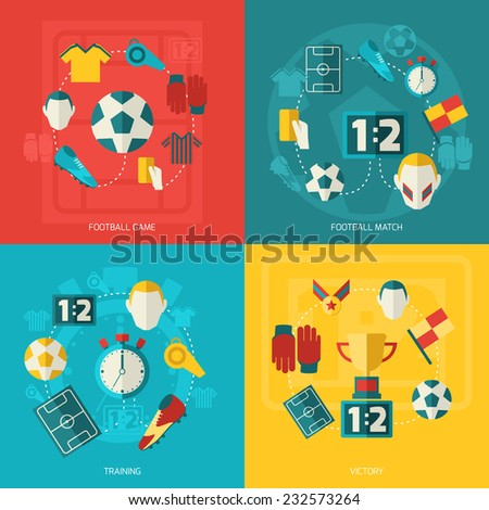 Soccer icons flat set with football game match training victory isolated vector illustration. - stock vector