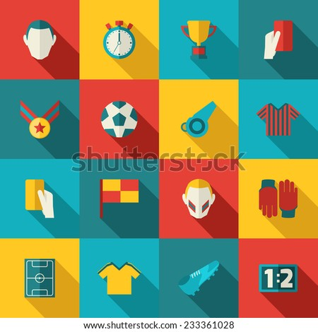 Soccer icons flat set with football trophy stadium championship isolated vector illustration - stock vector