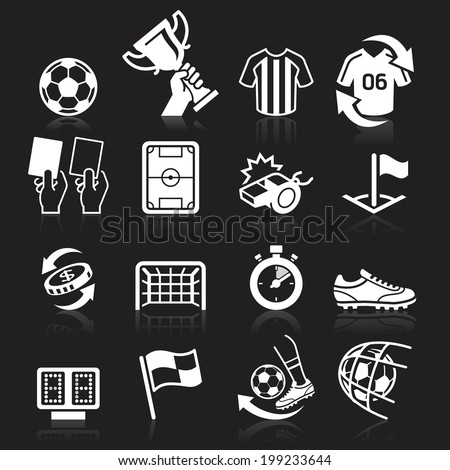 Soccer icons on black background. Vector illustration