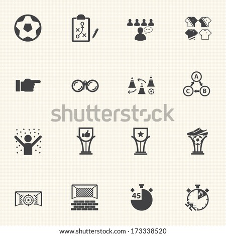 Soccer icons set with texture background. Vector - stock vector
