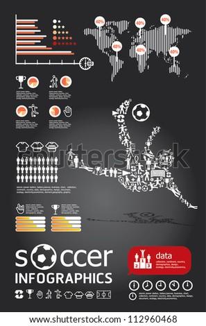 soccer  infographic vector - stock vector