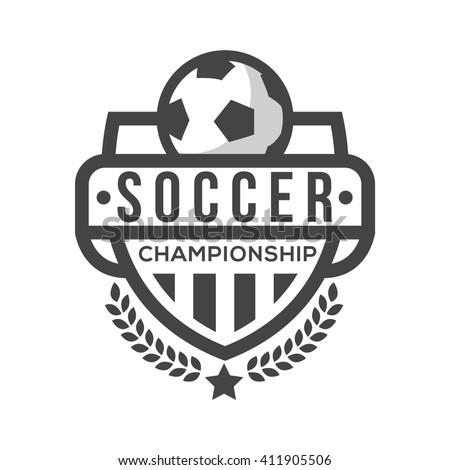 soccer logo black white vintage style arkistovektori