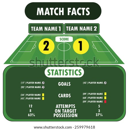 Soccer match infographic elements. Flat design - stock vector