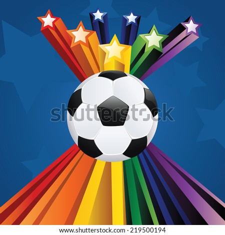 Soccer of football ball on abstract background with 3d stars. - stock vector