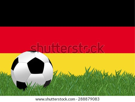 soccer on the football field with Germany flag background, Germany is the participating team in football tournament at France on 2016, this design for template of football match