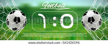 ball net. soccer or football black banner with 3d ball in the net and scoreboard on green background i