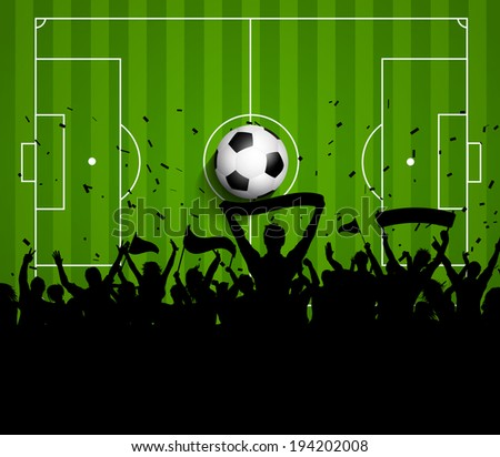 Soccer or football crowd on a green pitch background - stock vector