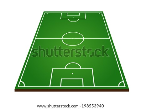 Soccer or football field on white background