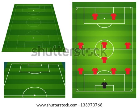 Soccer or football field with players and team tactics - stock vector