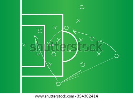 Soccer or football game strategy plan, Soccer Tactic Table. Vector Illustration - stock vector