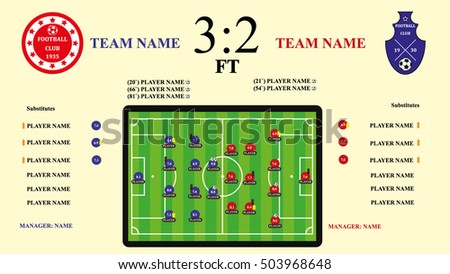 Soccer or football  match infographic elements and Statistics. Scoreboard and playfield.Digital background vector illustration.