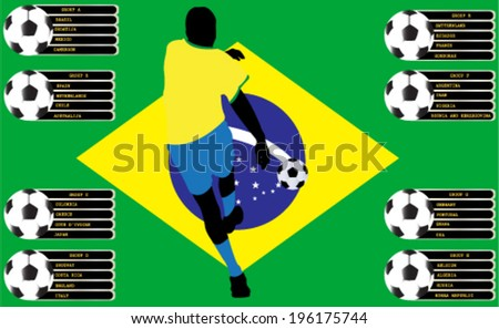 Soccer player and group vector - stock vector