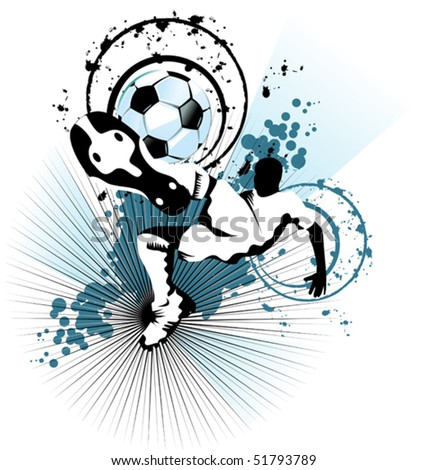 soccer player attack gate of the opponent; - stock vector