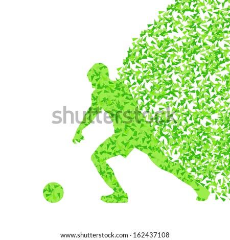 Soccer player ball kick vector background concept  - stock vector