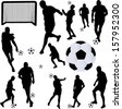 soccer player collection 1 - vector - stock vector