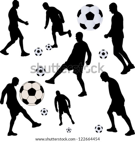 soccer player collection - vector - stock vector