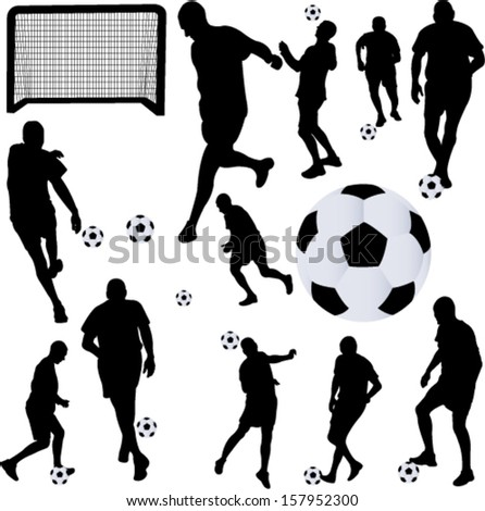 soccer player collection 1 - vector - stock vector