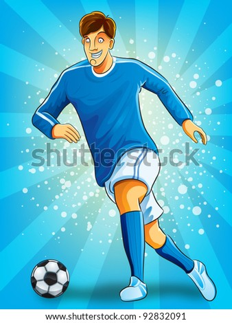 Soccer Player Dribble a Ball (EPS 10 file version) - stock vector