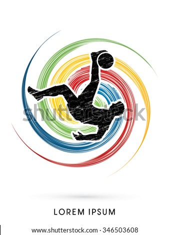 Soccer player hit the ball, Bicycle Kick designed using grunge on colorful spin circle background graphic vector. - stock vector
