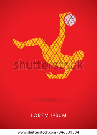 Soccer player hit the ball, Bicycle Kick designed using line net pattern graphic vector. - stock vector