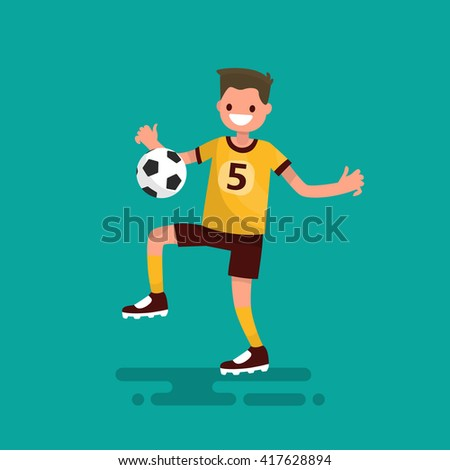 Soccer player hits the ball. Vector illustration - stock vector
