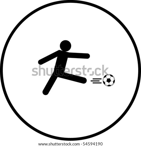 soccer player kick symbol - stock vector