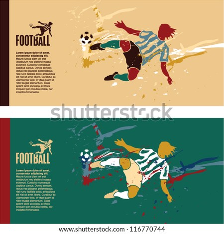 Soccer player kick the ball. Football colorful grunge vintage vector banner background. - stock vector