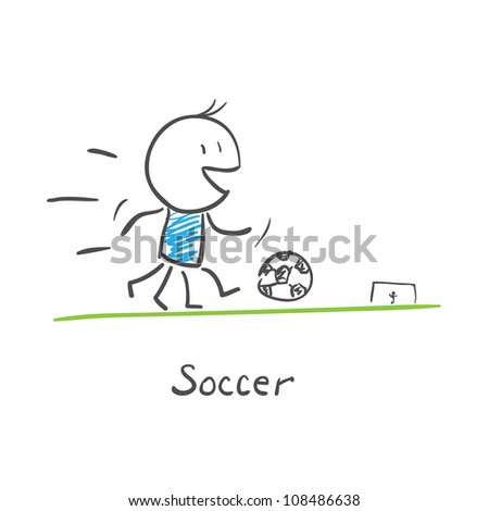 Soccer player kicks the ball. - stock vector