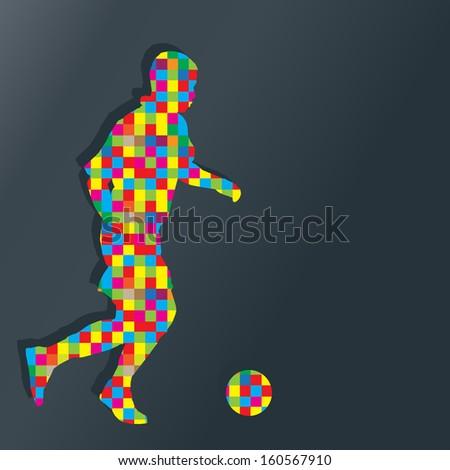 Soccer player kicks the ball vector background concept - stock vector
