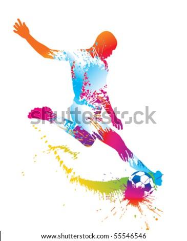 Soccer player kicks the ball. Vector illustration. - stock vector