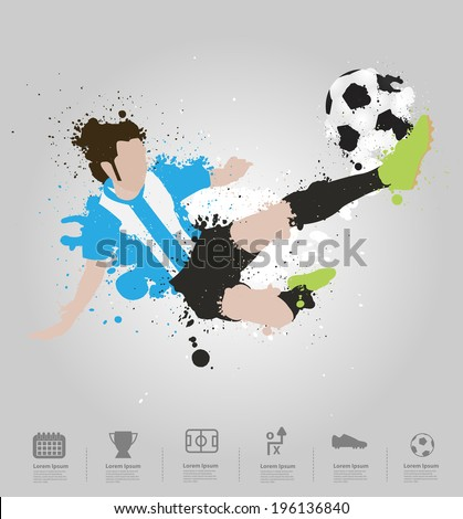 Soccer player kicks the ball, With colored splashes in stripe shape paint splatter design. Vector illustration modern template