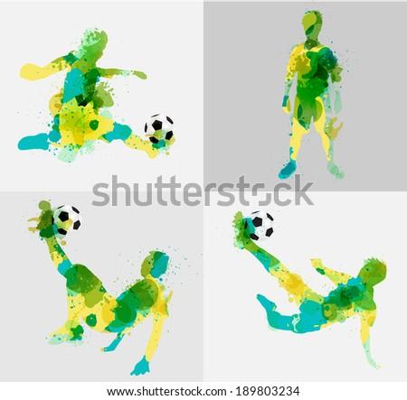 Soccer player kicks the ball with paint splatter design. Vector illustration modern design template - stock vector
