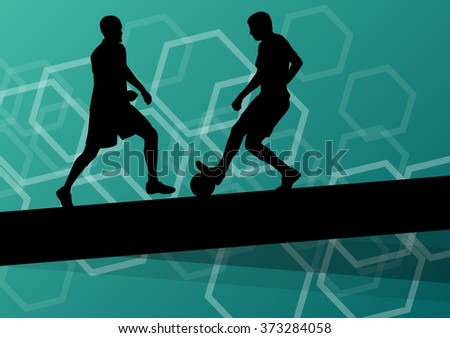 Soccer player men silhouettes with ball in active and healthy abstract background sport illustration vector - stock vector