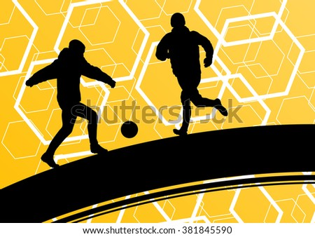 Soccer player men silhouettes with ball in active and healthy seasonal outdoor sport abstract background illustration vector - stock vector