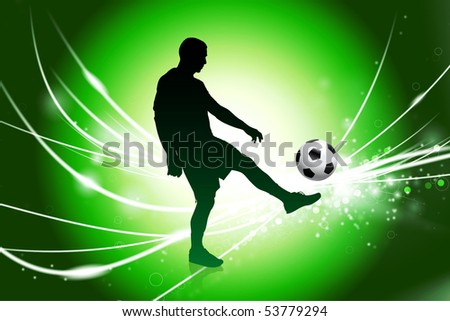 Soccer Player on Abstract Green Light Background Original Illustration
